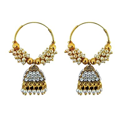979e4f5e48c Buy Saubhagya Collections Black Off-White Meenakari Gold Plated Ethnic  Style Jhumka Earrings with Pearl and Shining Stones for Women Online at Low  Prices in ...