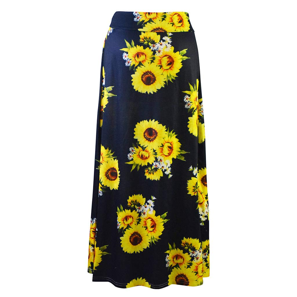BCDshop Women's Sunflower Print High Waist A-line Long Maxi Skirt Casual Beach Dress (L, Black) by BCDshop_Dress Clearance