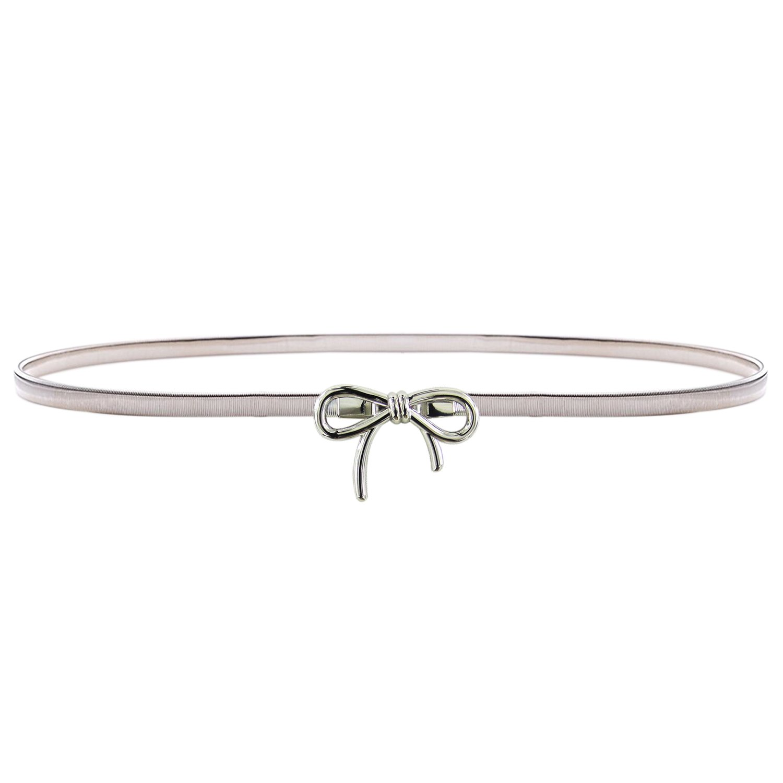 HowYouth® Cintura per Vestito Donna Cintura Decorativa in Vita Alta Cintura Elegante Elastica Donna Cintura Metallo Donna 55 Arco Argento) HY60151