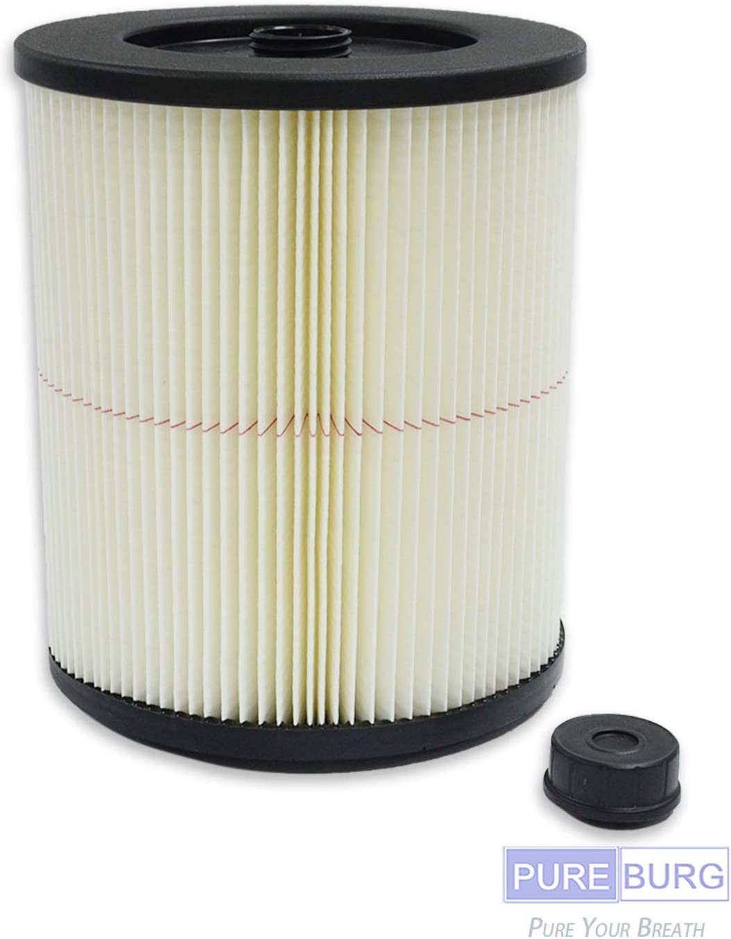 PUREBURG 1-Pack Replacement Red-Stripe Filter for Craftsman Fits 5/6/8/12/16/32 Gallon Large Wet Dry Shop Vacs Replace Part# 9-17816