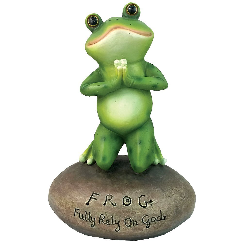 Amazon.com: Inspirational Cute Praying Frog On Rock Statue By DWK ...