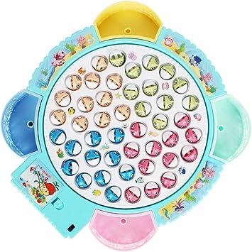 FeiWen Juegos de Mesa de Pesca Musical con Caña de Pescar Juegos de Mesa Educativos Juego de Pesca magnética Juguetes para Niños Niñas 3 4 5 6 Años(45 Peces): Amazon.es: Juguetes y juegos
