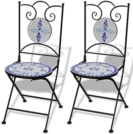 SHENGFENG Sillas de Camping Azul/Blanco, 2 Unidades, Hierro + Cerámica, Silla Exterior Juego de sillas para Jardin 37 x 44 x 89 cm: Amazon.es: Jardín