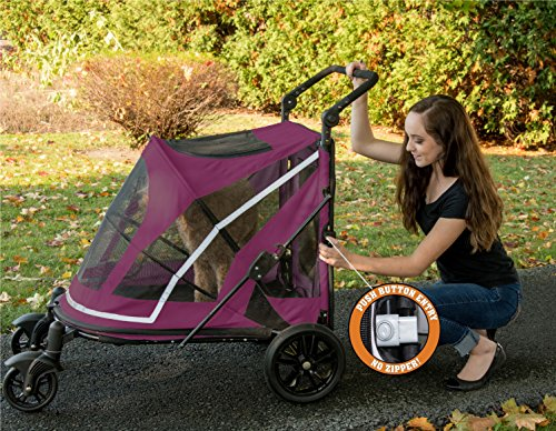 Pet Gear NO-Zip Stroller, Push Button Zipperless Dual Entry, for Single or Multiple Dogs/Cats, Pet Can Easily Walk in/Out, No Need to Lift Pet (2020)