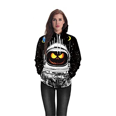 3D Hoodie Halloween Pumpkin Astronaut Ladies Men Sweatshirt