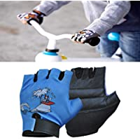 Onex Cartoon Character Kids Cycling Gloves Half Finger Leader Padded Non-Slip Gloves For Fishing, Bicycle, Hunting, Sport,School, Climbing Mitt for Girl and Boys (5 To 11 years old) (Black\Orange)