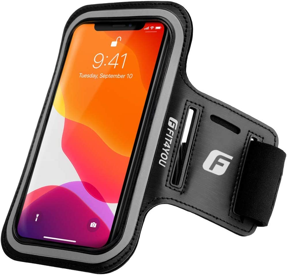 FIT4YOU Running Cell Phone Holder for iPhone 11, X, Xs, 8, 7, 6, 6S, Samsung Galaxy S9, S8, S7, S6, Edge, Plus & LG, Huawei, Google, Sony - Water Resistant Armband Case for Running, Fitness, Jogging