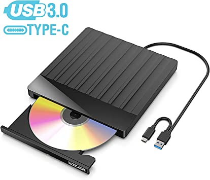 Unidad DVD, LOZAYI Lector CD/DVD USB 3.0 y Type-C, Ultra Slim Portátil Grabadora DVD, Disquetera Externa CD/DVD-RW Super Drive, Compatible con WIN98 /XP/7/8/10/XP/VISTA/Mac OS: Amazon.es: Electrónica