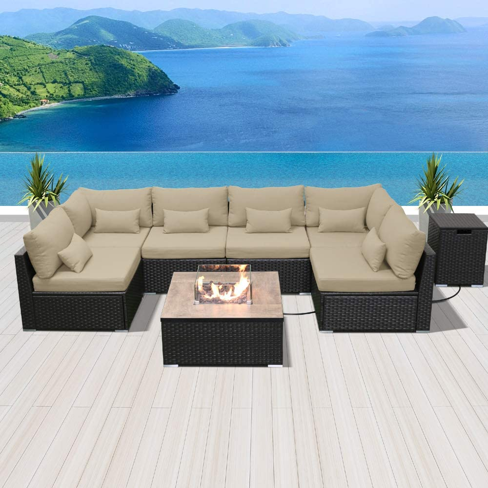 Modenzi Outdoor Sectional Patio Furniture with Propane Fire Pit Table Espresso Brown Wicker Resin Garden Conversation Sofa Set (G7 Sofa Square Fire Pit, Light Beige)