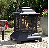 """Wood Burning Pagoda Fire Pit Made of Steel in Black Finish 40"""" H x 28"""" W x 24"""" D in. For Sale"""