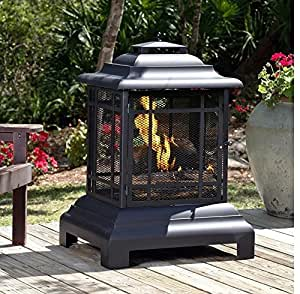Wood Burning Pagoda Fire Pit Made of Steel in Black Finish 40'' H x 28'' W x 24'' D in.