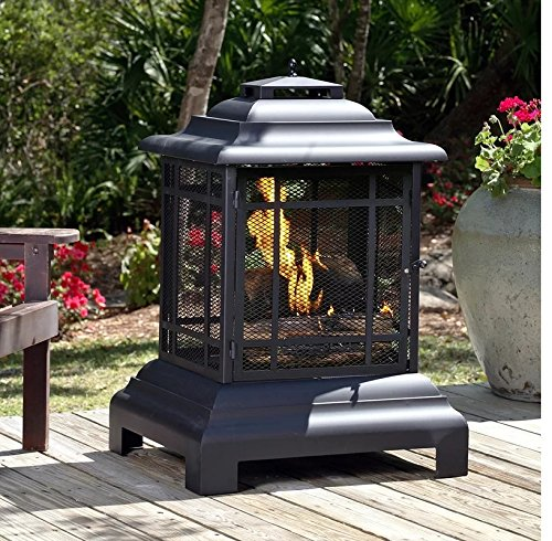 "Wood Burning Pagoda Fire Pit Made of Steel in Black Finish 40"" H x 28"" W x 24"" D in. For Sale"