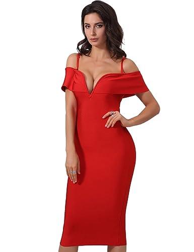 Adyce Bandage-Vestito rosso estate senza maniche donna sexy scollo a v collo lusso festa vestito reg...