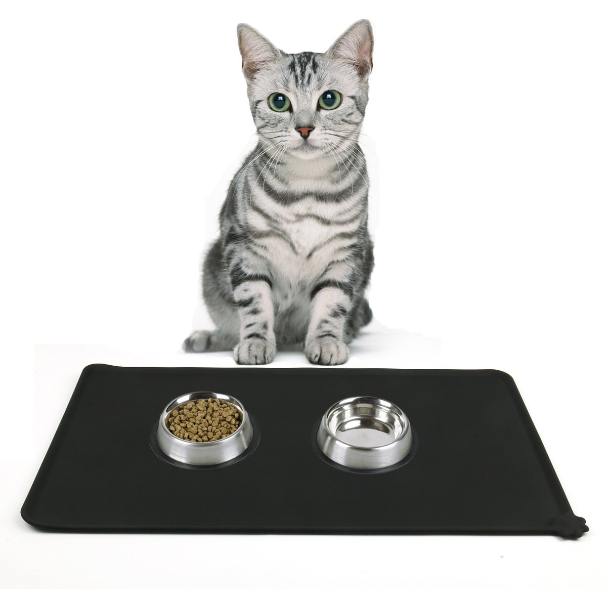 Cusfull Pet Food Mat - Premium FDA Grade Silicone Feeding Mat for Dogs and Cats, Anti-Slip and Washable 47x30cm (Grey)
