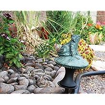 Rainforest Frog on Mushroom Aluminum Hose Guard Guide Garden Stake
