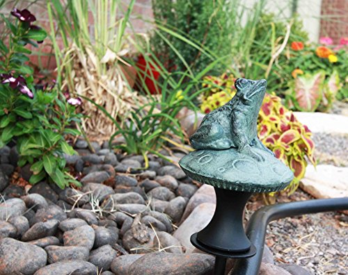 Buddha Guides (Rainforest Frog on Mushroom Aluminum Hose Guard Guide Garden Stake)