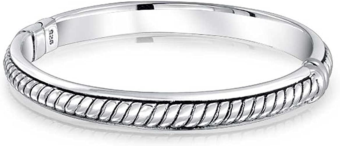 Hollow Double Heart Love Charm Bypass-Cuff Bangle .925 Sterling Silver Bracelet