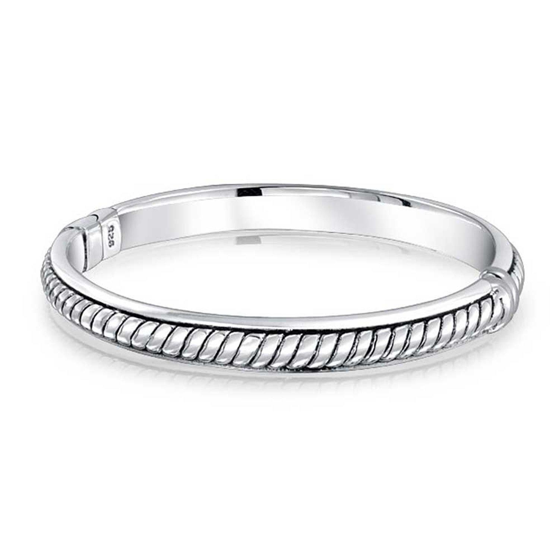 Bling Jewelry Stackable Pattern Detail Bangle Bracelet 925 Sterling Silver
