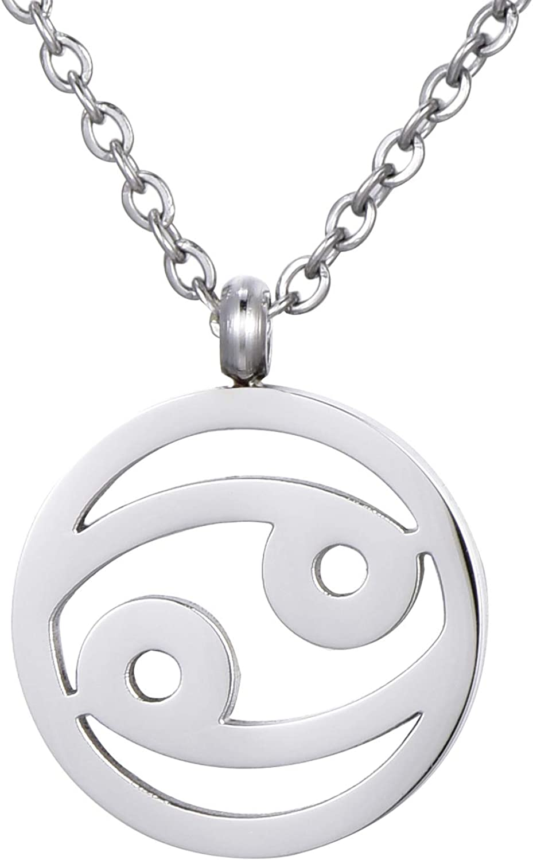Morella Collar Acero Inoxidable Plata con Colgante Signo del Zodiaco en Bolsa de Terciopelo