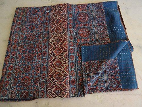 Handmade Indigo Hand Block Printed Kantha Quilt Throw Organic Vegetable Ajrakh Prints Bedspreads Bed Cover Blanket