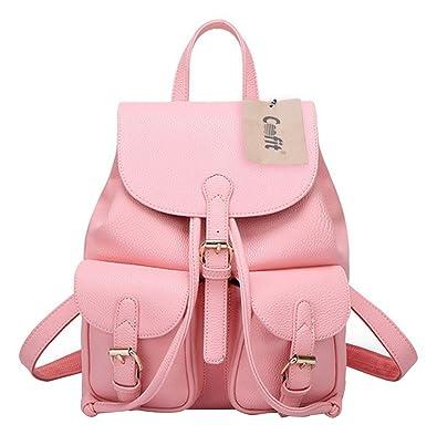 Coofit Women Soft Leather Lovely Backpack Cute Schoolbag Shoulder Bag (Pink)