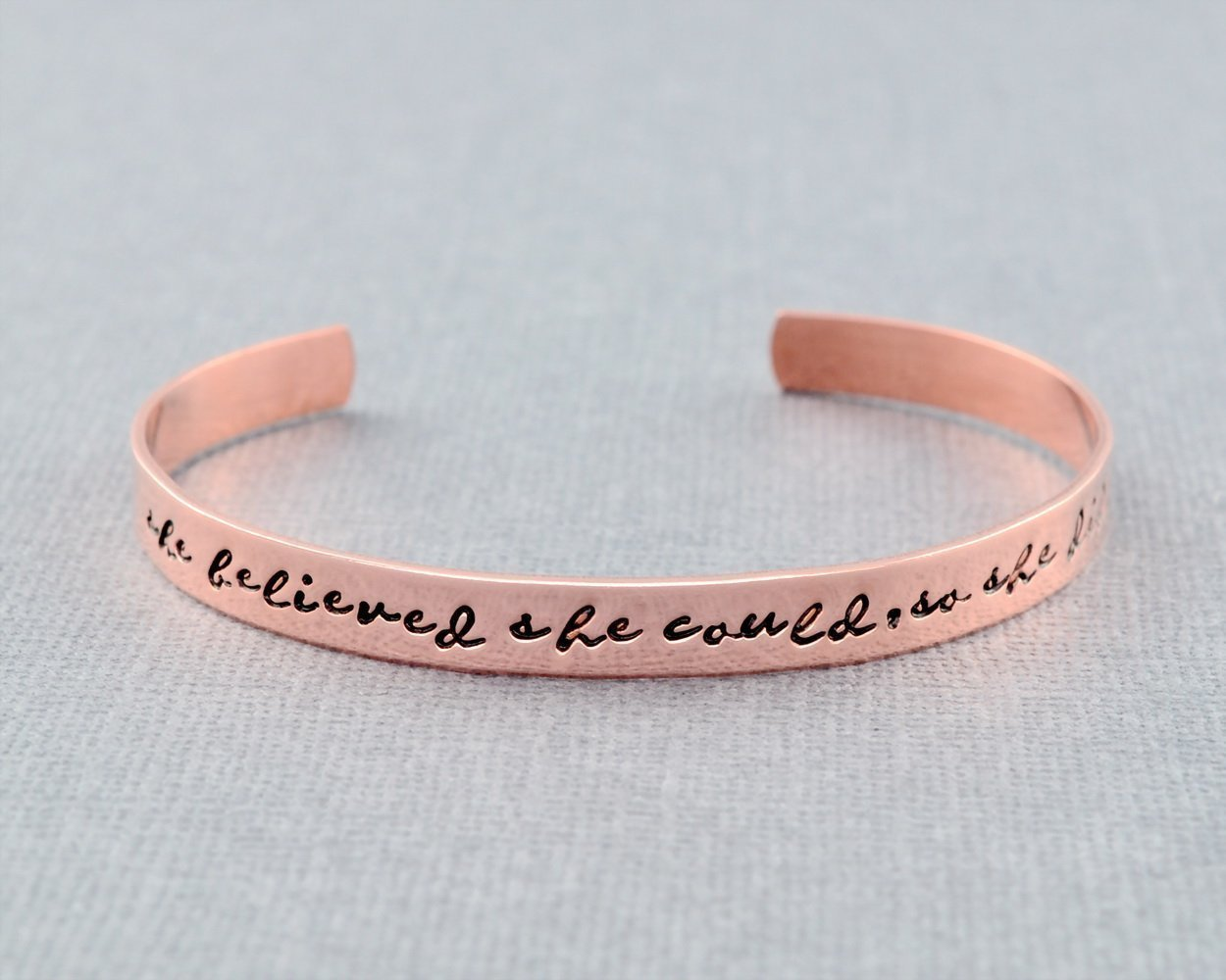 Grad Gift for Her Friends Sorority Sisters Group Graduation Gift Motivational Inspirational Quote Graduate Cuff Hand Stamped Copper or Brass Cuff Bracelet She Believed She Could So She Did