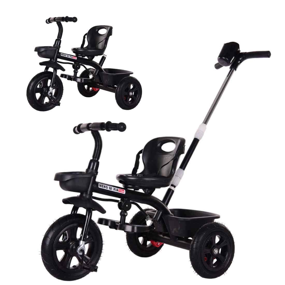 noir  MUYU Trolley 2 en 1 pour Enfants avec Tricycle à pédales Poussoir détachable Convient aux Enfants de 1 à 6 Ans