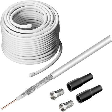Systafex - Kit de recepción satélite (cable coaxial de 20 m, 2 ...