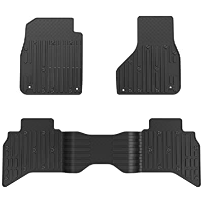 OsoTorero Floor Mats for 2013-2020 Dodge Ram 1500 2500 3500 Crew Cab, Unique Black TPE All-Weather Guard Includes 1st and 2nd Row: Front, Rear, Full Set Liners: Automotive