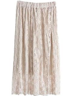 8d9afda7be1e BESTHOO Jupe Mi Longue Femme Jupe Dentelle Crochet Jupe Couleur Unie Jupe  Taille Elastique Jupe Décontractée