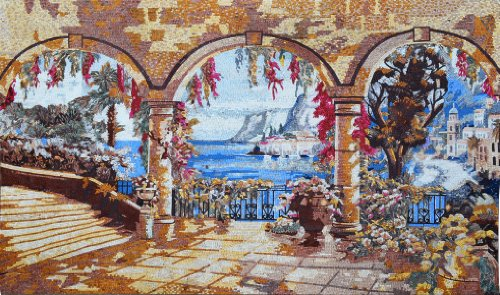 Marvelous Natural Scene Stone Mosaic Hand Made Wall Decor -