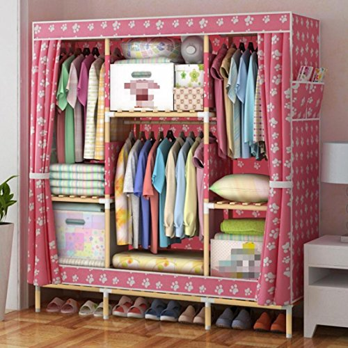 GL&G Wardrobe Closet Portable Washed Oxford cloth Free Standing Storage Organizer – Portable, Detachable, and Lightweight Solid wood Clothing Closet Home finishing decoration,F,58''68'' by GAOLIGUO