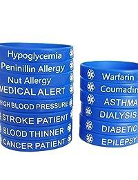 Blue Silicone Rubber Medical Awareness Alert Bracelet