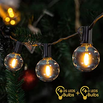 Cadena de bombillas exterior,VIFLYKOO Cadena de Luz Guirnaldas Luminosas 25+3 impermeables LED Bombillas Guirnalda Luces Exterior para Jardín Patio fiesta de bodas, Navidad - Blanco cálido: Amazon.es: Iluminación