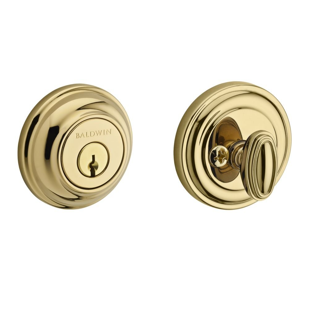 Baldwin SC.TRD.003.6L.DS.CKY.KD Traditional Round Single Cylinder Deadbolt, Polished Brass