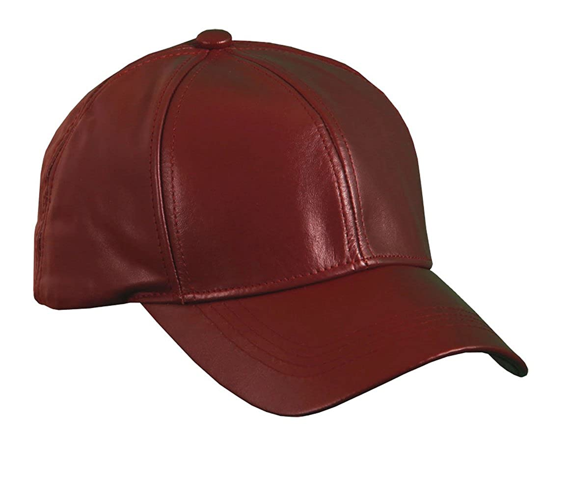 Burgundy Genuine Leather Baseball Cap Hat Made In The USA at Amazon Men s  Clothing store  0dc39ff1bae