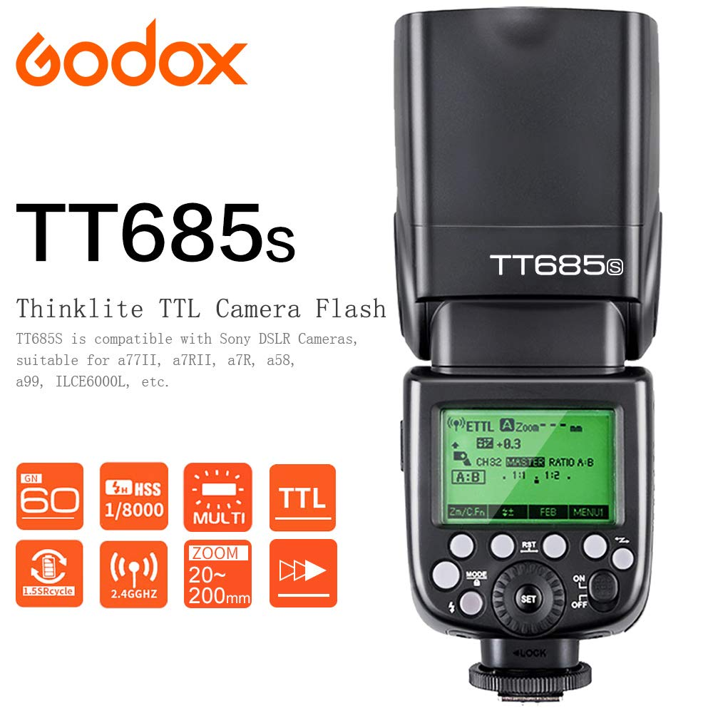 Godox TT685S TTL C/ámara Flash HSS 1 8000s GN60 2.4G 0.1-2.6s Tiempo de Reciclaje 230 Flashes Completos de Potencia para Sony DSLR C/ámaras