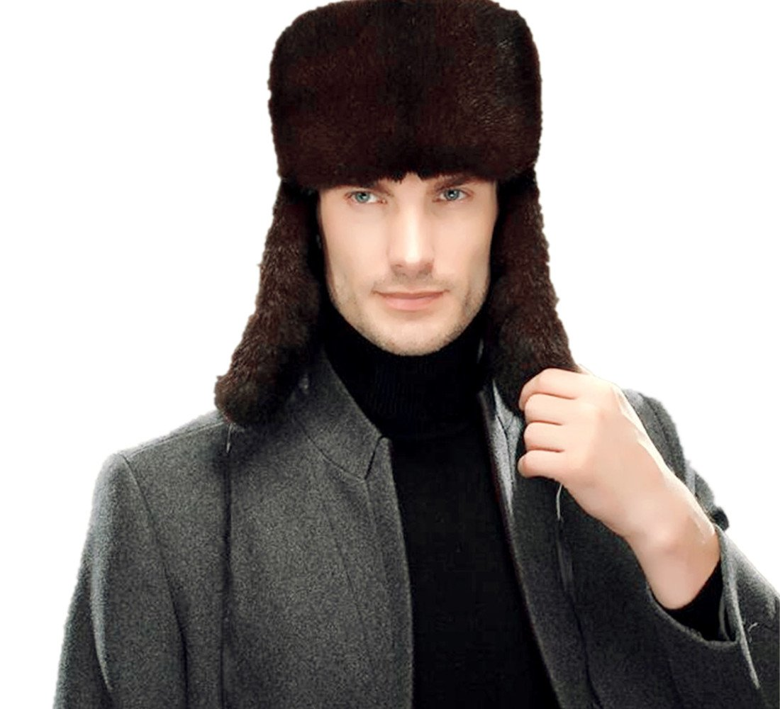 Okayda Men's Russia Style Mink Fur Hat Comfortable Warm Winter Hat with Flaps Brown XL