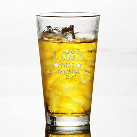 16 oz Beer Pint Glasses Tea Pub Glass, Little Miss America, Funny Cups for Man - Party Supplies Decorations Ideas