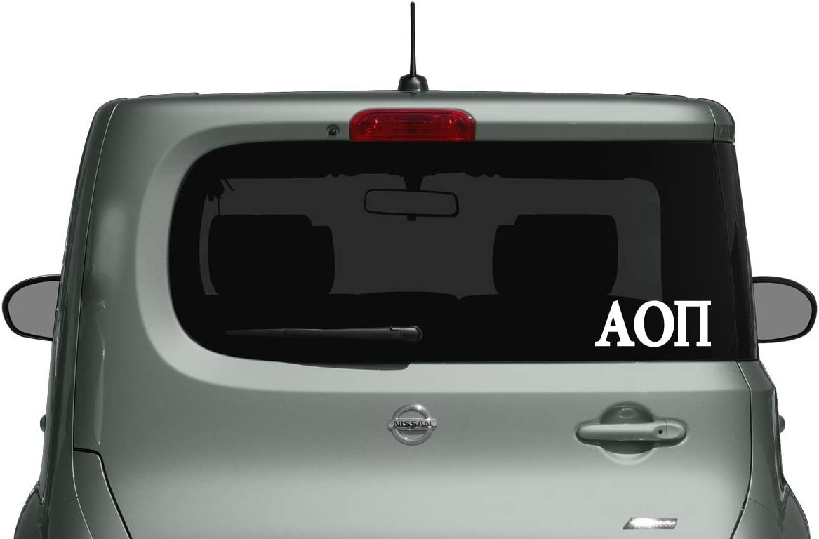 Alpha Omicron Pi - Car, Truck Laptop Decal Sticker (3 Pack) (White)