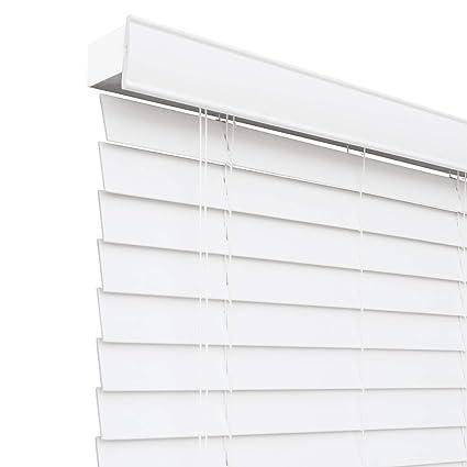 9b56e1767283e Chicology Faux Wood Blinds / window horizontal 2-inch venetian slat, Faux  Wood, Variable Light Control - Simply White, 32