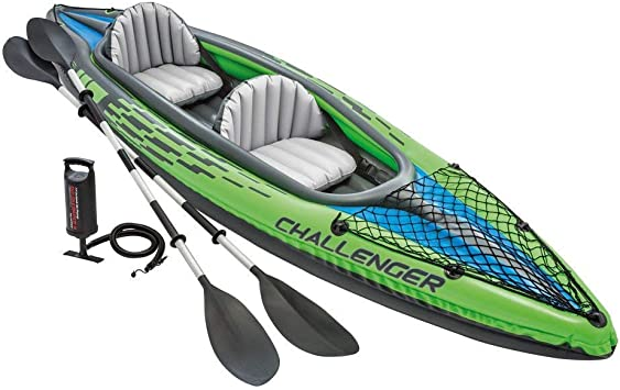 Intex Challenger K2 Kayak 2 Person Inflatable Kayak Set With Aluminum Oars And High Output Air Pump