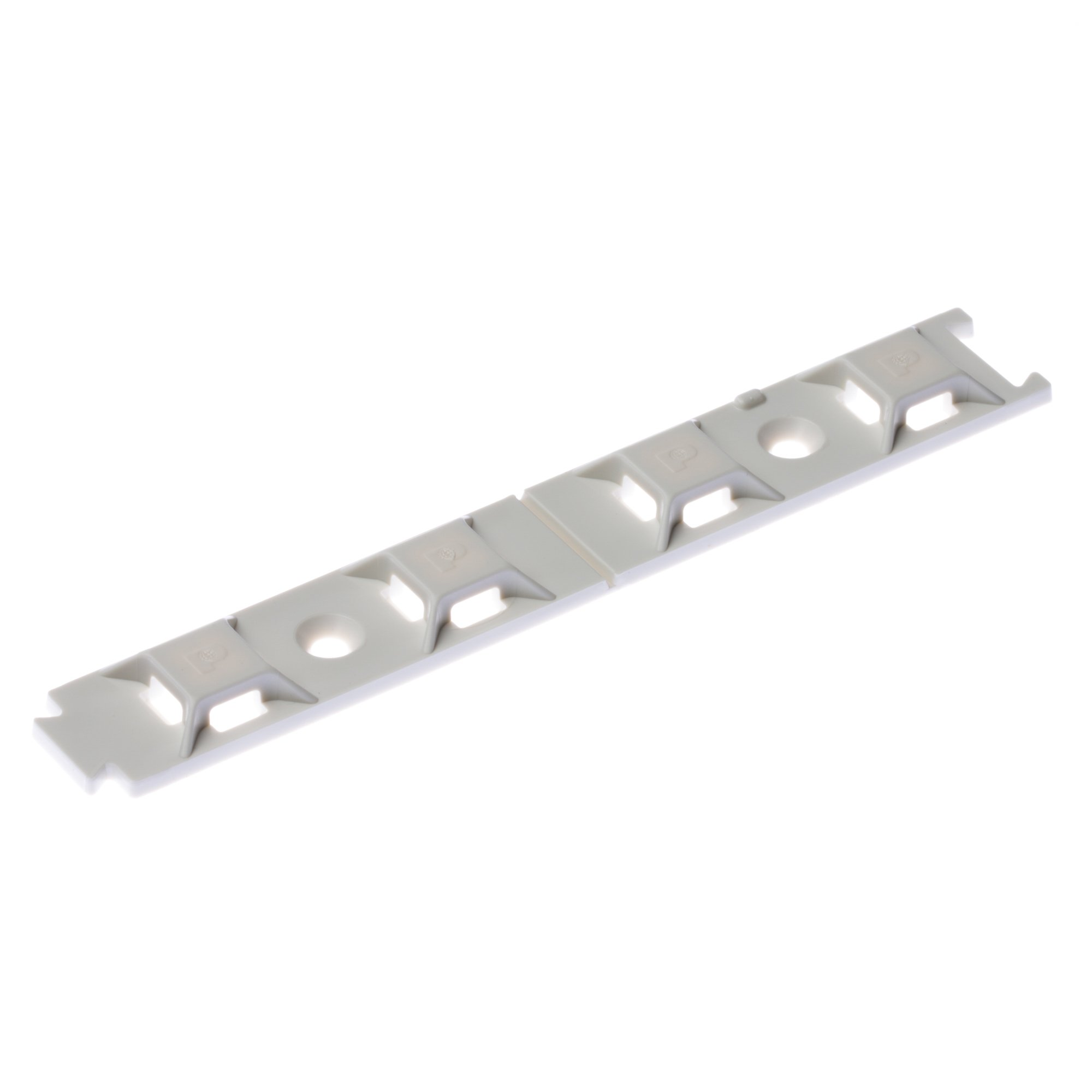 Panduit ABMQS-S6-C Multipe Bridge Adhesive Backed Cable Tie Mount, ABMQ Mount, Screw/User-Supplied Adhesive, Indoors/High Temp Environment, ABS, #6 Screw Mounting Method, White (Pack of 100)