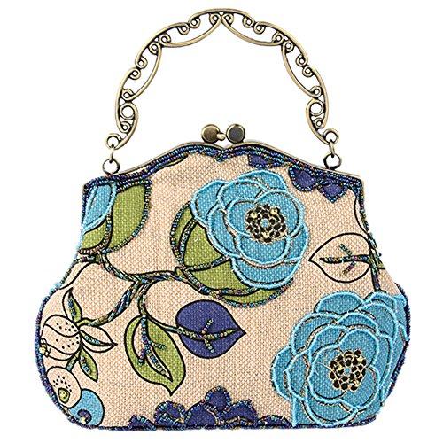 TOMATO-smile - Bolso mochila  de poliéster para mujer blanco café 04-Blau