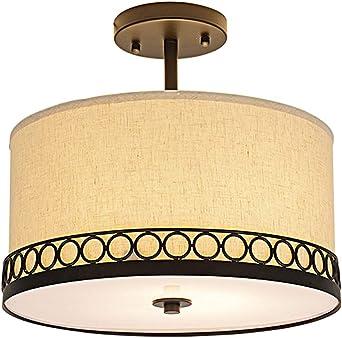 Plafonnier Lustre Salon Chambre Luminaire en acier inoxydable tissu de lustres éclairage cuivre