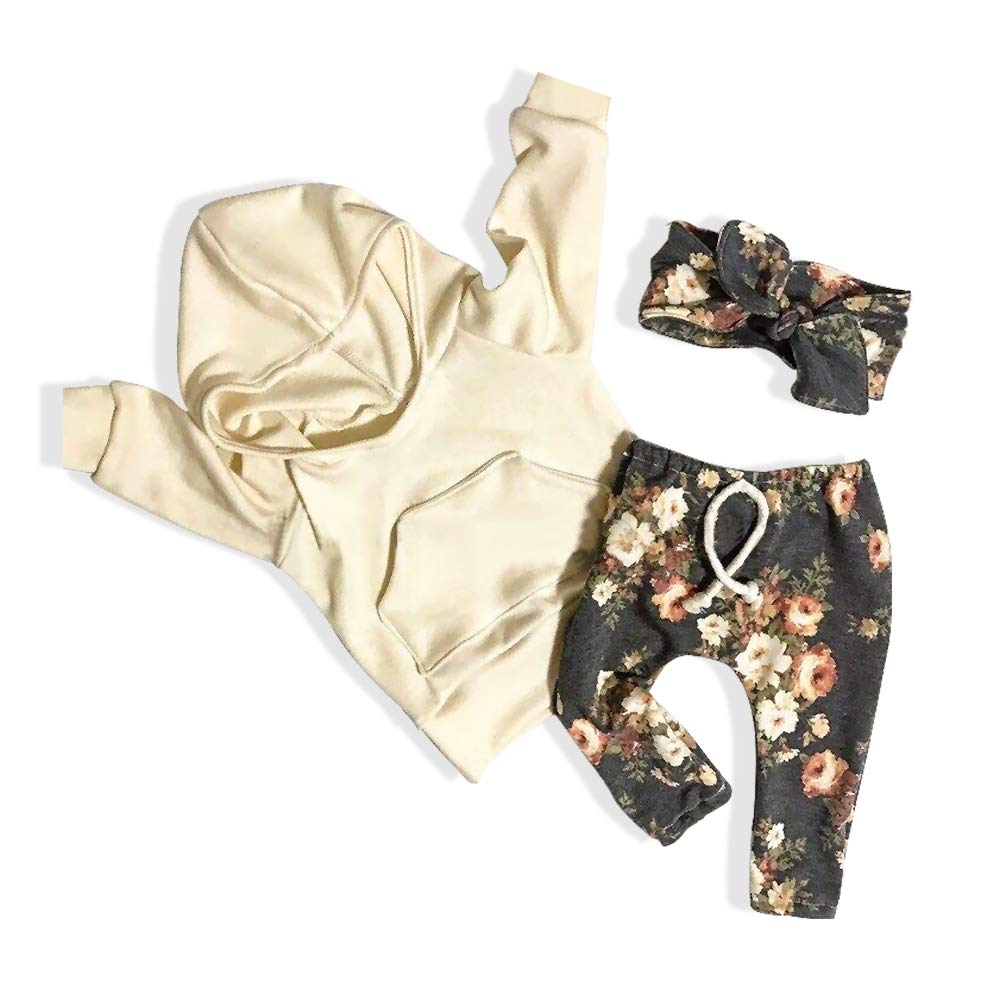 Toddler Baby Girl Clothes Newborn Active Sweatshirt Pocket Hoodie Tops Floral Pants with Headband Outfit Set Rutoe