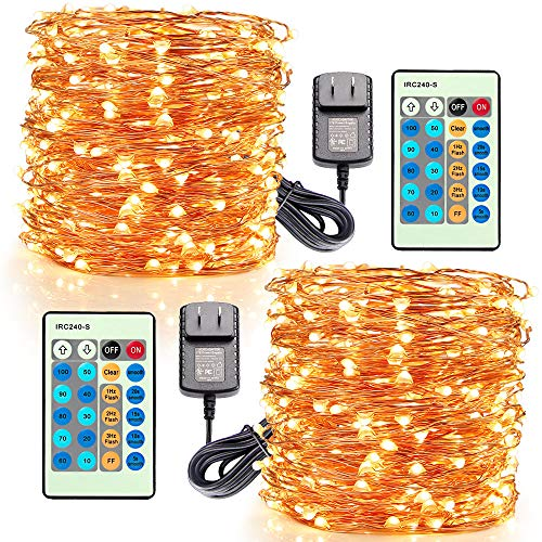 Moobibear LED Decorative Fairy String Lights 99ft 300 LEDs Dimmable Outdoor/Indoor Starry String Lights, Warm White Copper Lights with Remote Control for Garden Room Patio Party Christmas,2Pack