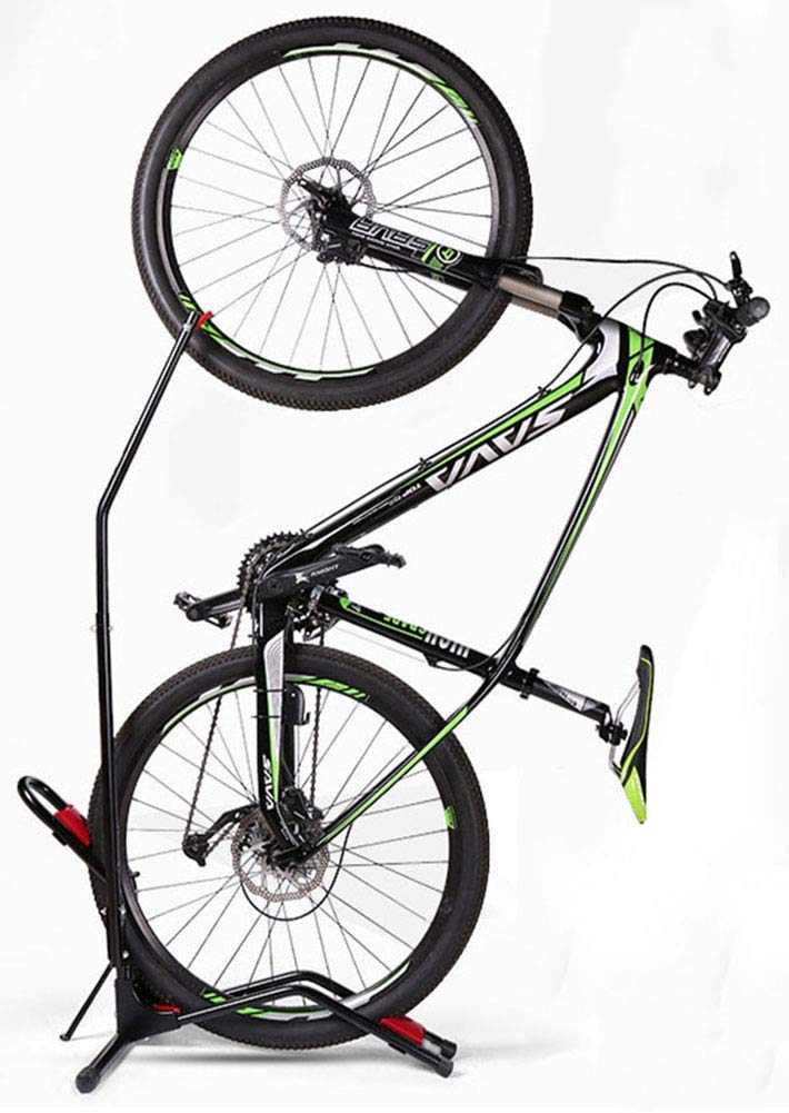 Hasit Bike Floor Stand Bike Rack Stand for Vertical Horizontal Indoor Mountain Bike,Road Bike Storage – Space Saving – No Need to Damage Wall Black Renewed