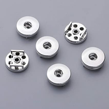 6 Pcs 18mm Snap Buttons Base Pendants Charms for DIY Jewelry Making Findings Fashion Charms & Charm Bracelets