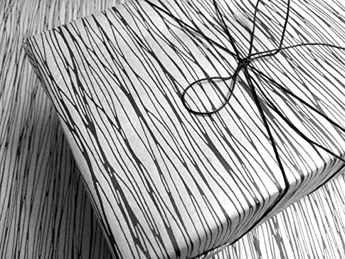 Spooky Black Lines on White Wrapping Paper - up to 8 Feet of Birthday Gift Wrap